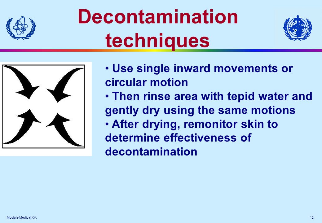 Module Medical XV. - 12 Decontamination techniques Use single inward movements or circular motion Then rinse area with tepid water and gently dry usin