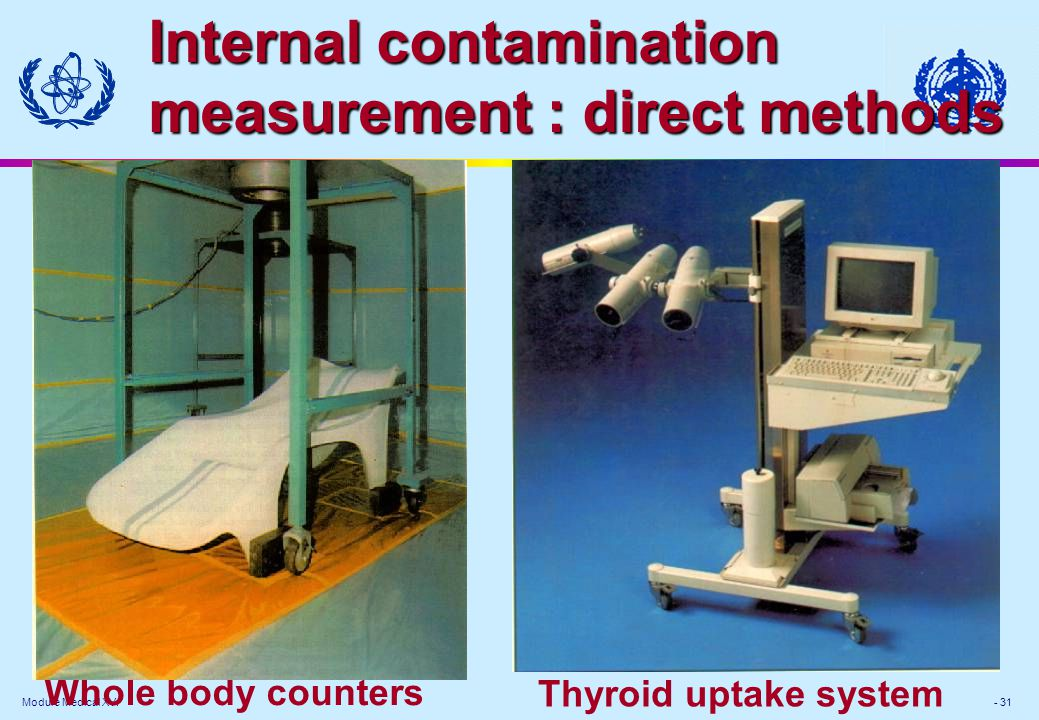Module Medical XV. - 31 Internal contamination measurement : direct methods Thyroid uptake system Whole body counters