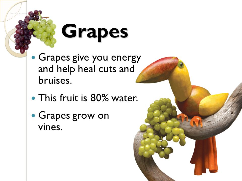 Grapes Grapes give you energy and help heal cuts and bruises. This fruit is 80% water. Grapes grow on vines. Nature & More