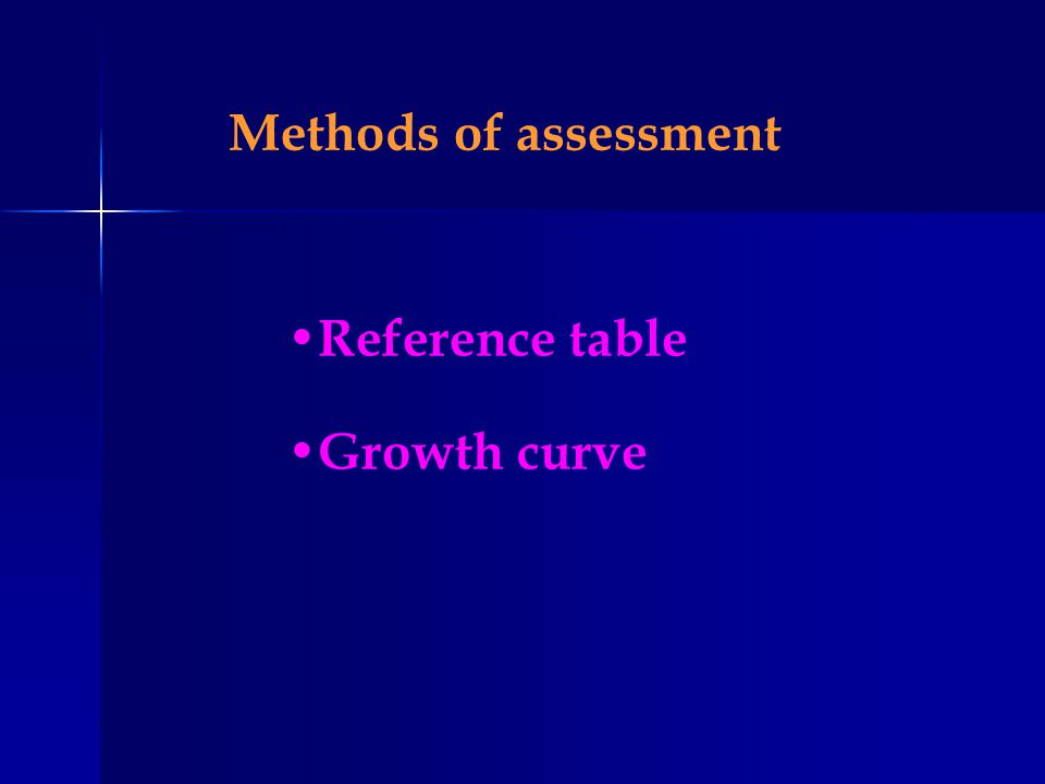 Methods of assessment Reference table Growth curve