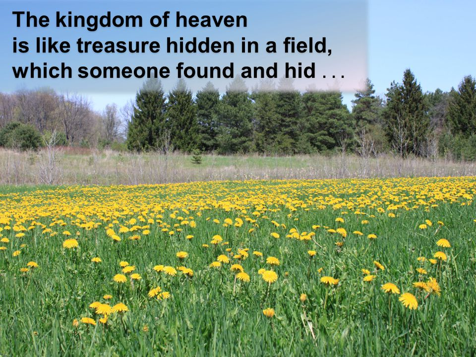 The kingdom of heaven is like treasure hidden in a field, which someone found and hid...