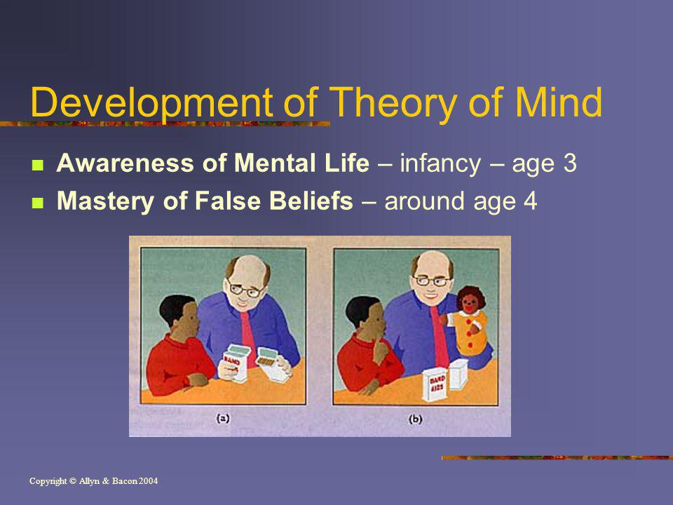 Copyright © Allyn & Bacon 2004 Development of Theory of Mind Awareness of Mental Life – infancy – age 3 Mastery of False Beliefs – around age 4