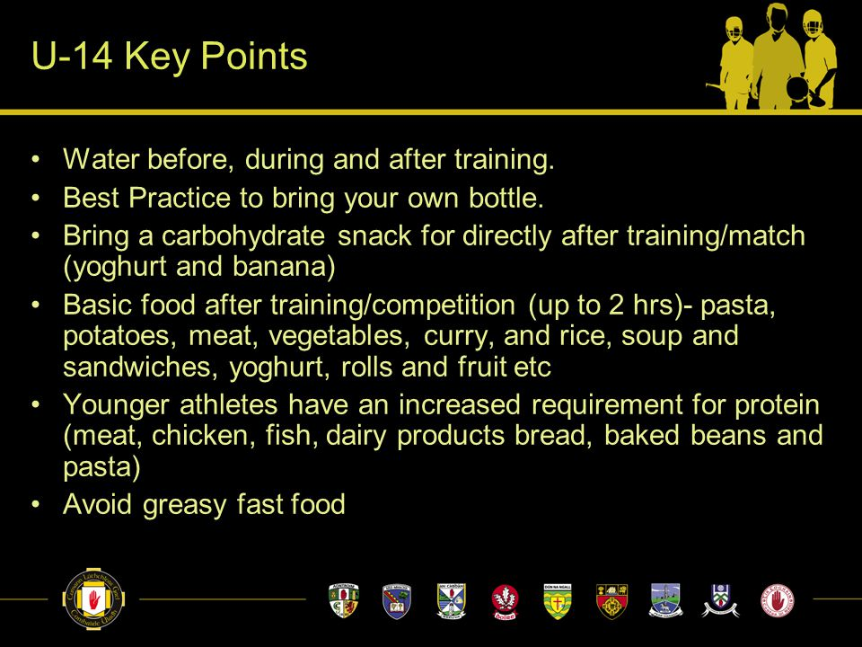U-14 Key Points Water before, during and after training.