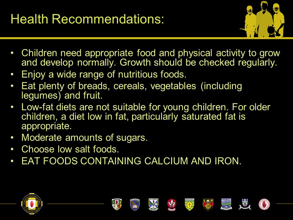 Children need appropriate food and physical activity to grow and develop normally.