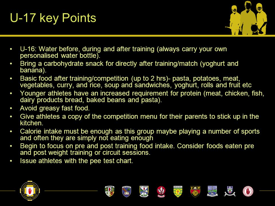 U-17 key Points U-16: Water before, during and after training (always carry your own personalised water bottle).