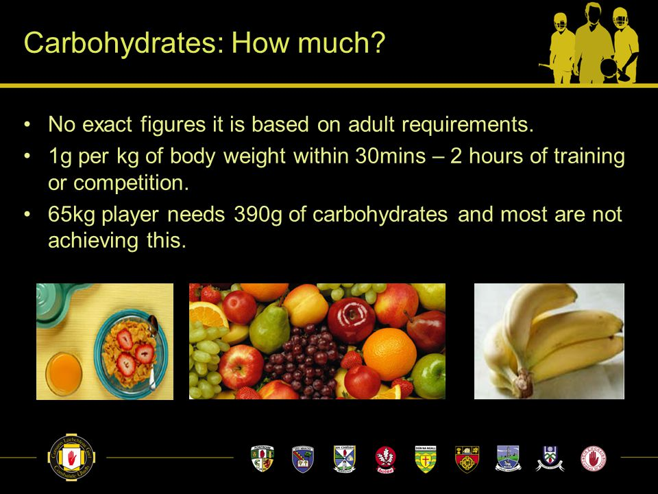 Carbohydrates: How much. No exact figures it is based on adult requirements.
