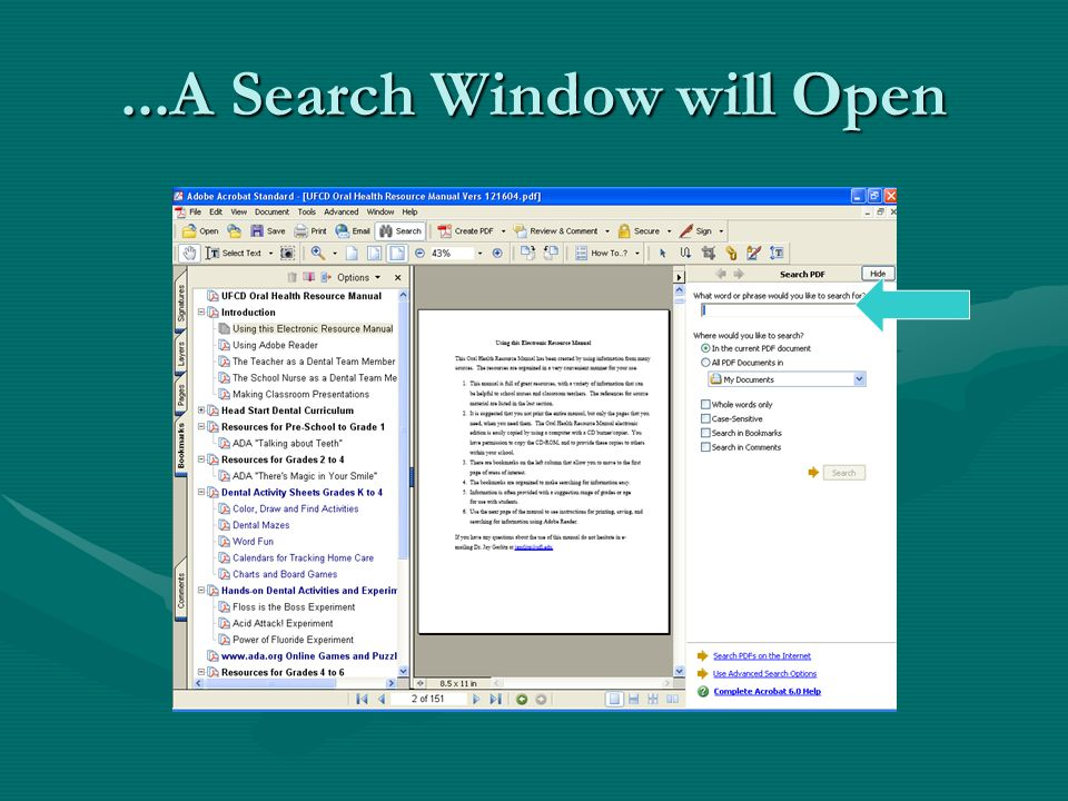 ...A Search Window will Open