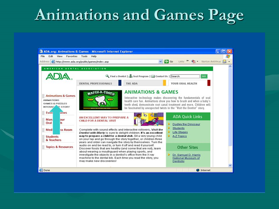 Animations and Games Page