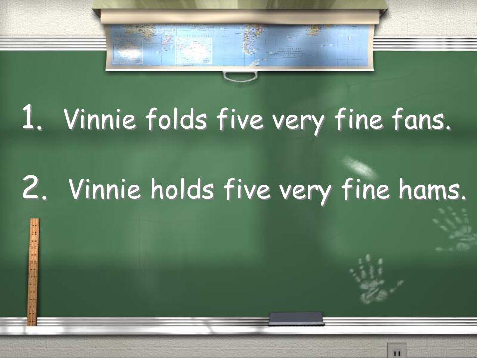 Vinnie holds five very fine hams. Vinnie holds five very fine hams.
