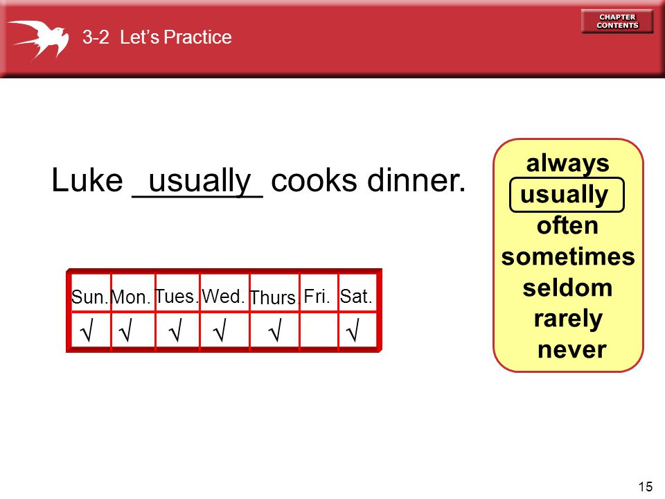 15 always usually often sometimes seldom rarely never Luke _______ cooks dinner.