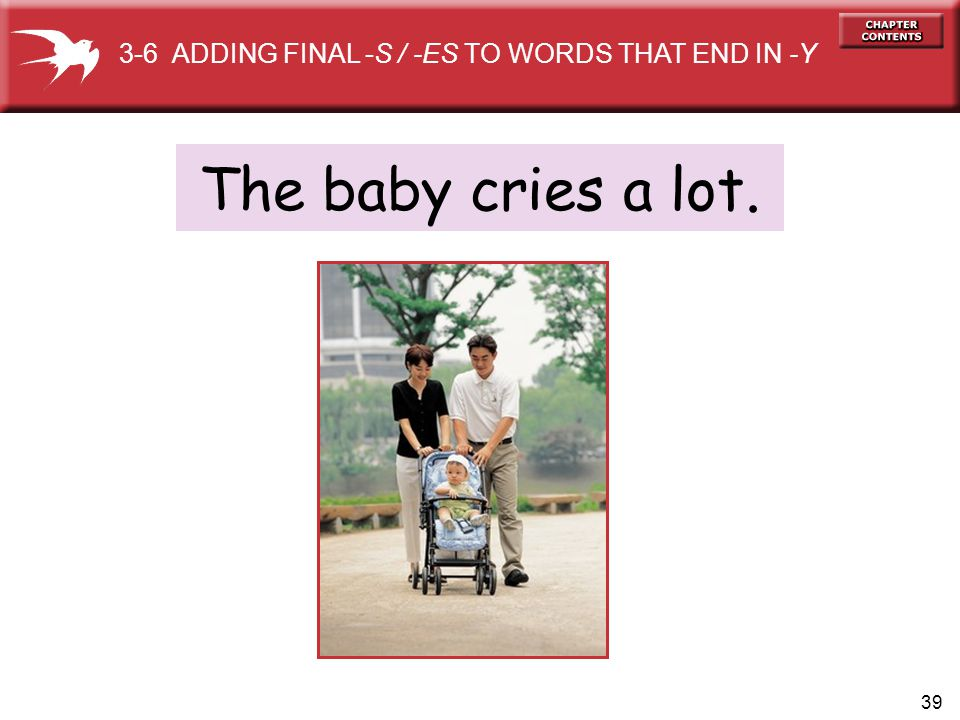39 The baby cries a lot. 3-6 ADDING FINAL -S / -ES TO WORDS THAT END IN -Y