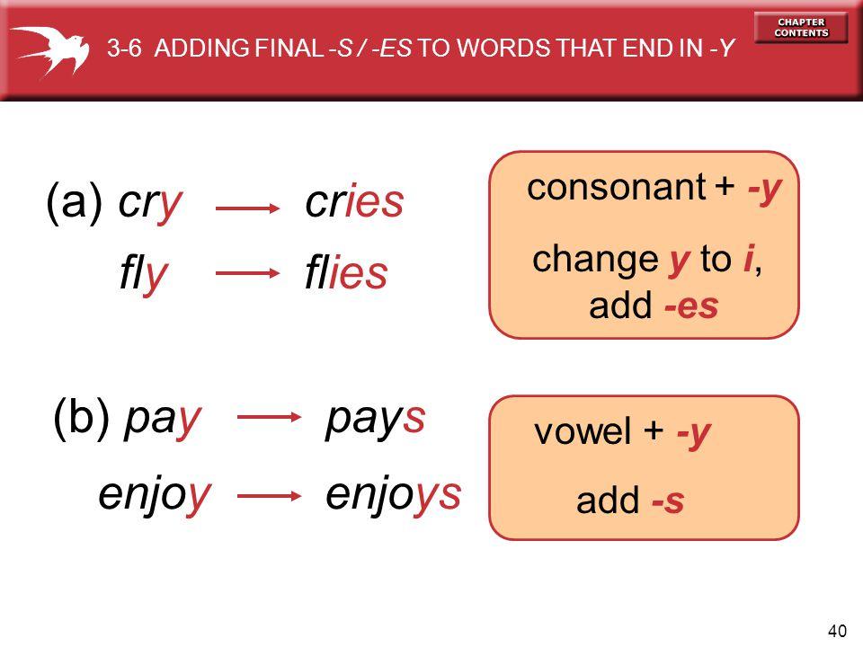 40 (a) crycries flyflies (b) paypays enjoy enjoys consonant + -y change y to i, add -es vowel + -y add -s 3-6 ADDING FINAL -S / -ES TO WORDS THAT END IN -Y