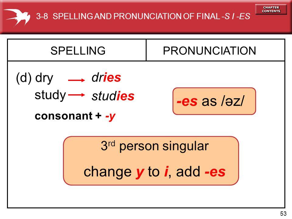 53 3 rd person singular change y to i, add -es SPELLING (d) dry PRONUNCIATION dries study studies -es as /əz/ consonant + -y 3-8 SPELLING AND PRONUNCIATION OF FINAL -S I -ES