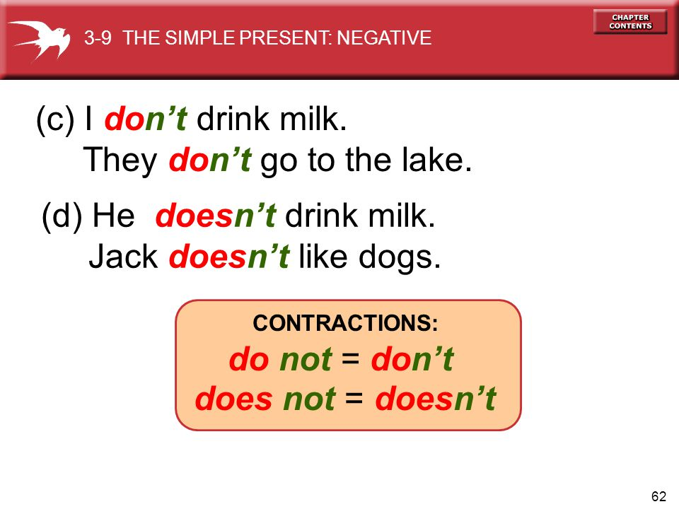 62 (d) He doesnt drink milk.Jack doesnt like dogs.