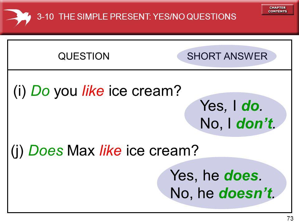 73 QUESTION SHORT ANSWER (i) Do you like ice cream.