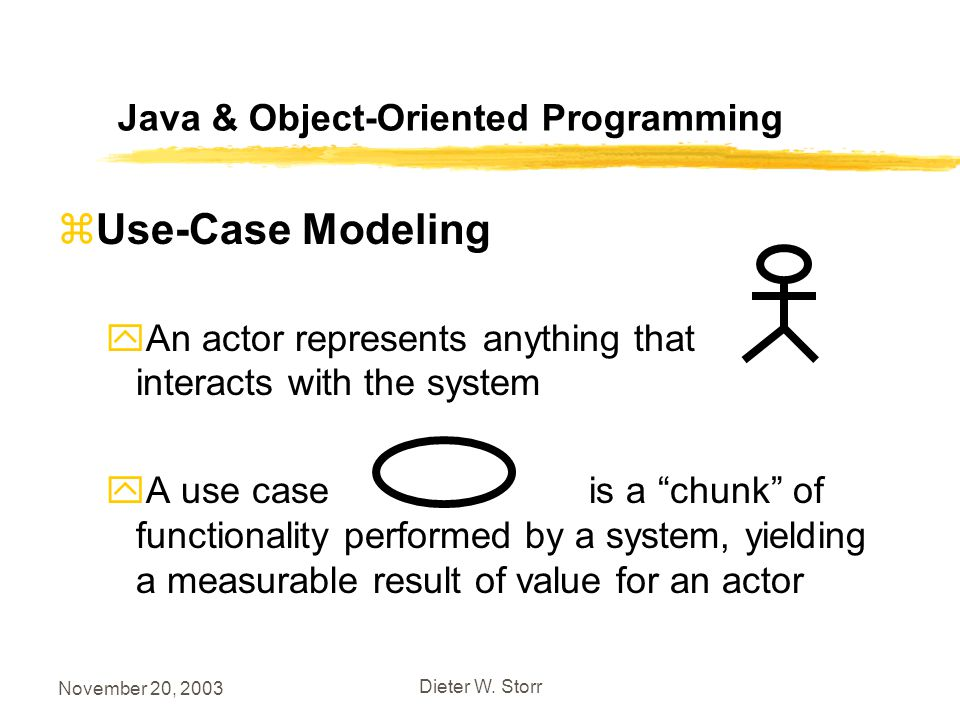 November 20, 2003 Dieter W. Storr Java & Object-Oriented Programming zUse-Case Modeling yAn actor represents anything that interacts with the system y