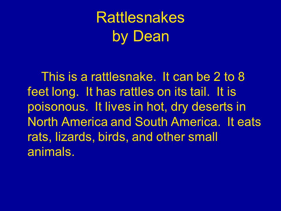 Rattlesnakes by Dean This is a rattlesnake. It can be 2 to 8 feet long.