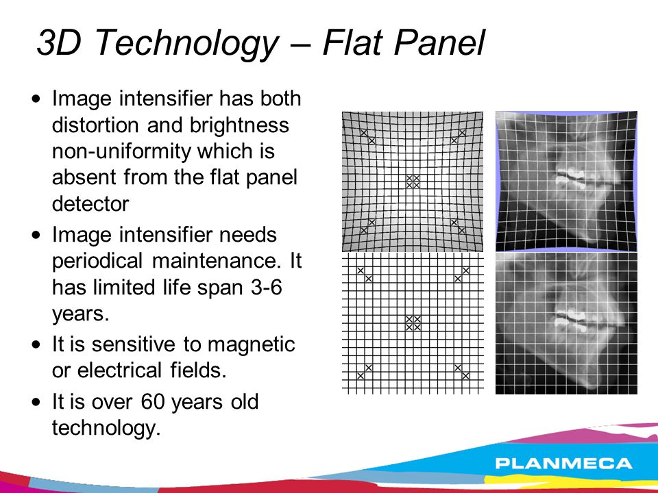 3D Technology – Flat Panel Image intensifier has both distortion and brightness non-uniformity which is absent from the flat panel detector Image inte
