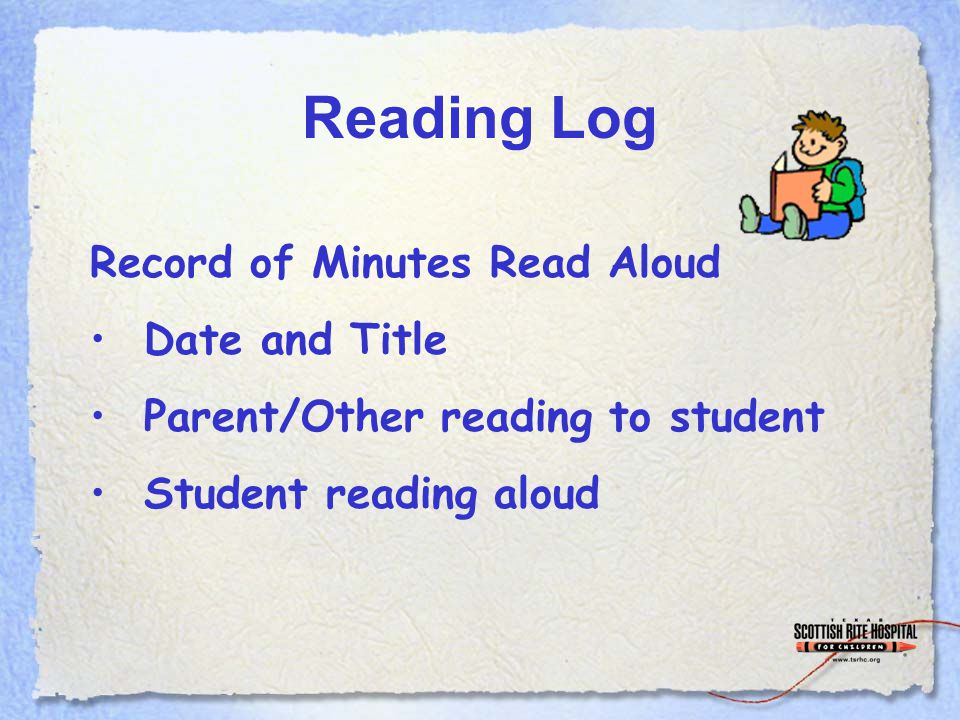 Reading Log Record of Minutes Read Aloud Date and Title Parent/Other reading to student Student reading aloud