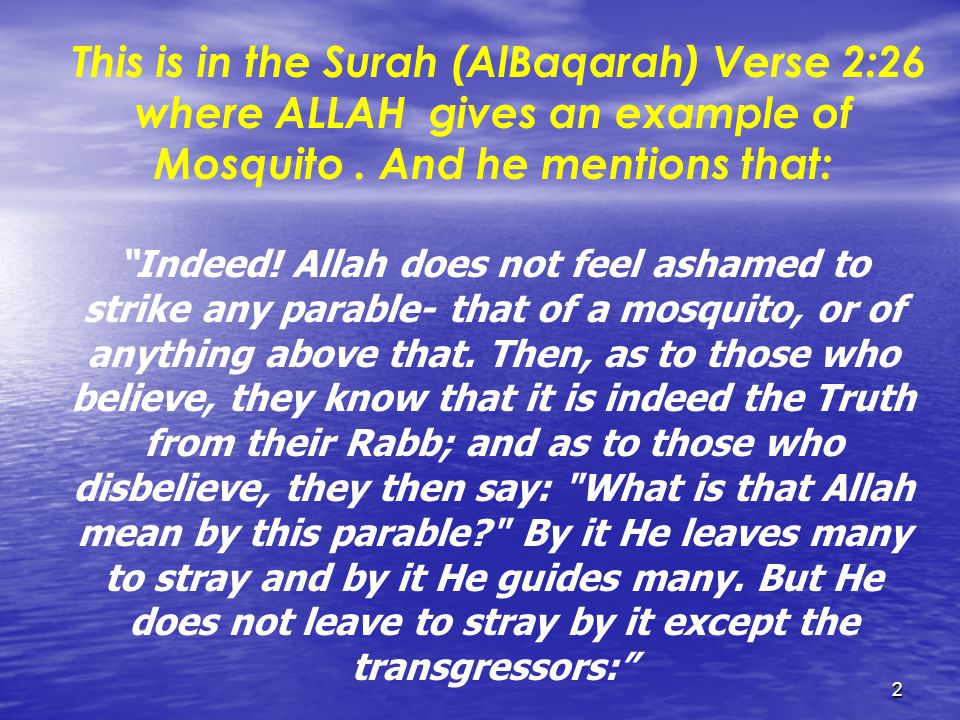 2 This is in the Surah (AlBaqarah) Verse 2:26 where ALLAH gives an example of Mosquito.