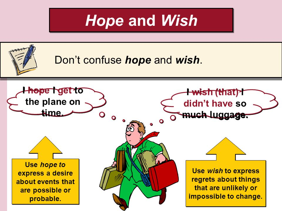 Hope and Wish Dont confuse hope and wish. I hope I get to the plane on time.