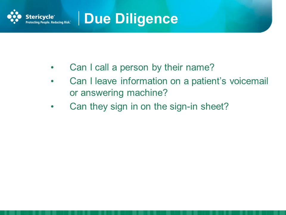 Due Diligence Can I call a person by their name.