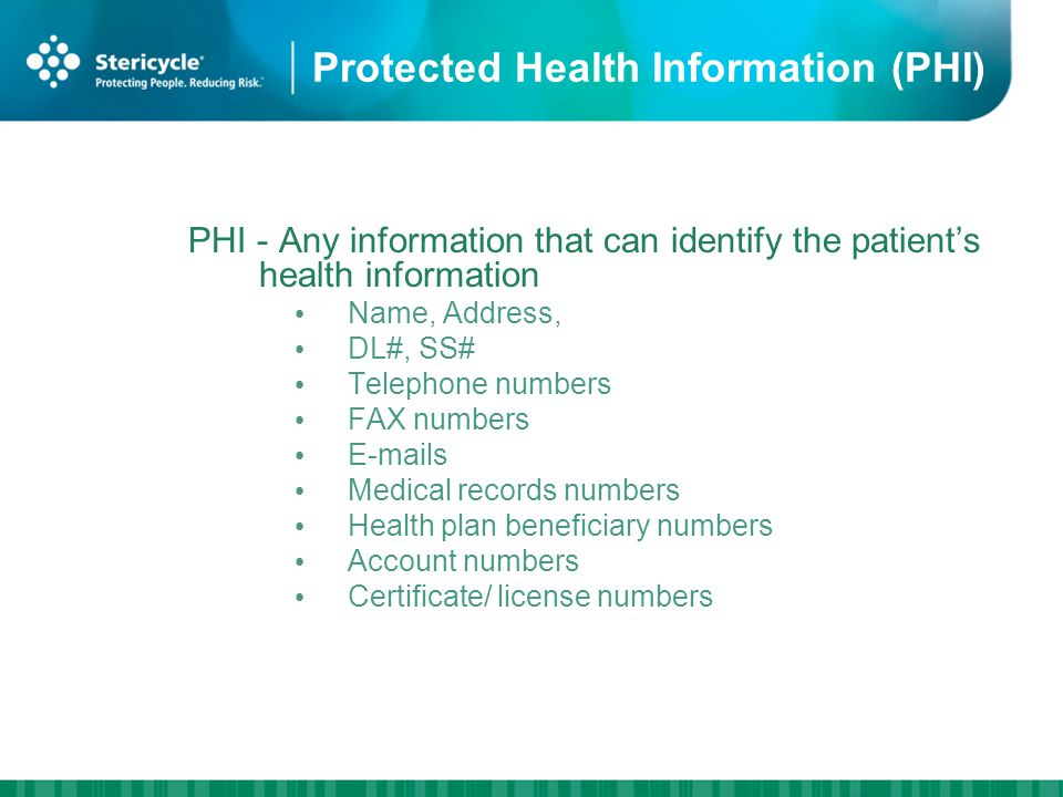 Protected Health Information (PHI) PHI - Any information that can identify the patients health information Name, Address, DL#, SS# Telephone numbers FAX numbers E-mails Medical records numbers Health plan beneficiary numbers Account numbers Certificate/ license numbers
