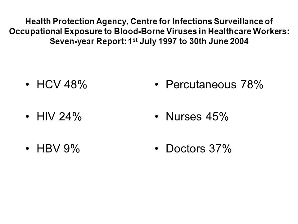 Health Protection Agency, Centre for Infections Surveillance of Occupational Exposure to Blood-Borne Viruses in Healthcare Workers: Seven-year Report: