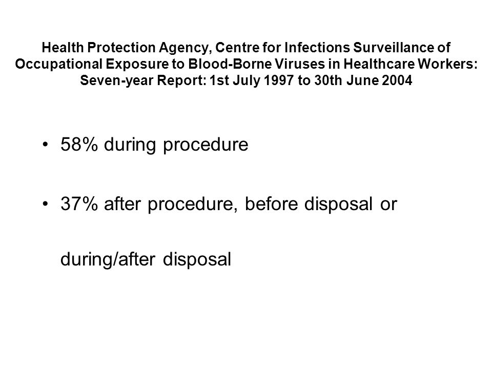 58% during procedure 37% after procedure, before disposal or during/after disposal Health Protection Agency, Centre for Infections Surveillance of Occ
