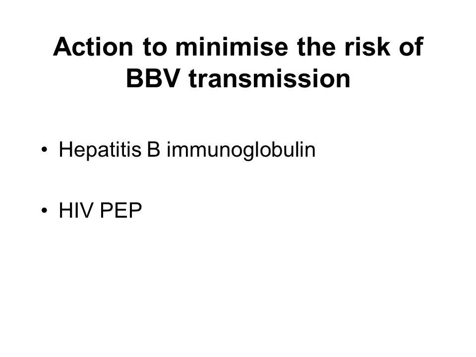Action to minimise the risk of BBV transmission Hepatitis B immunoglobulin HIV PEP