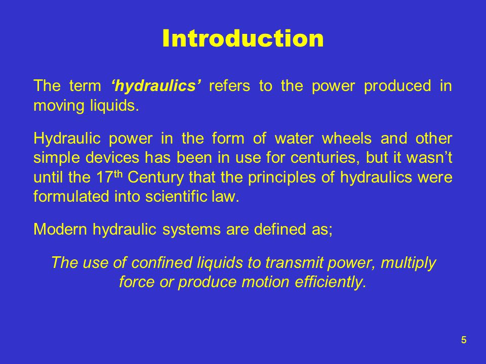 16 The Hydraulic Pump The hydraulic pump allows the conversion of mechanical energy into hydraulic energy by forcing the hydraulic fluid, under pressure, from the reservoir, through a filter into the system.