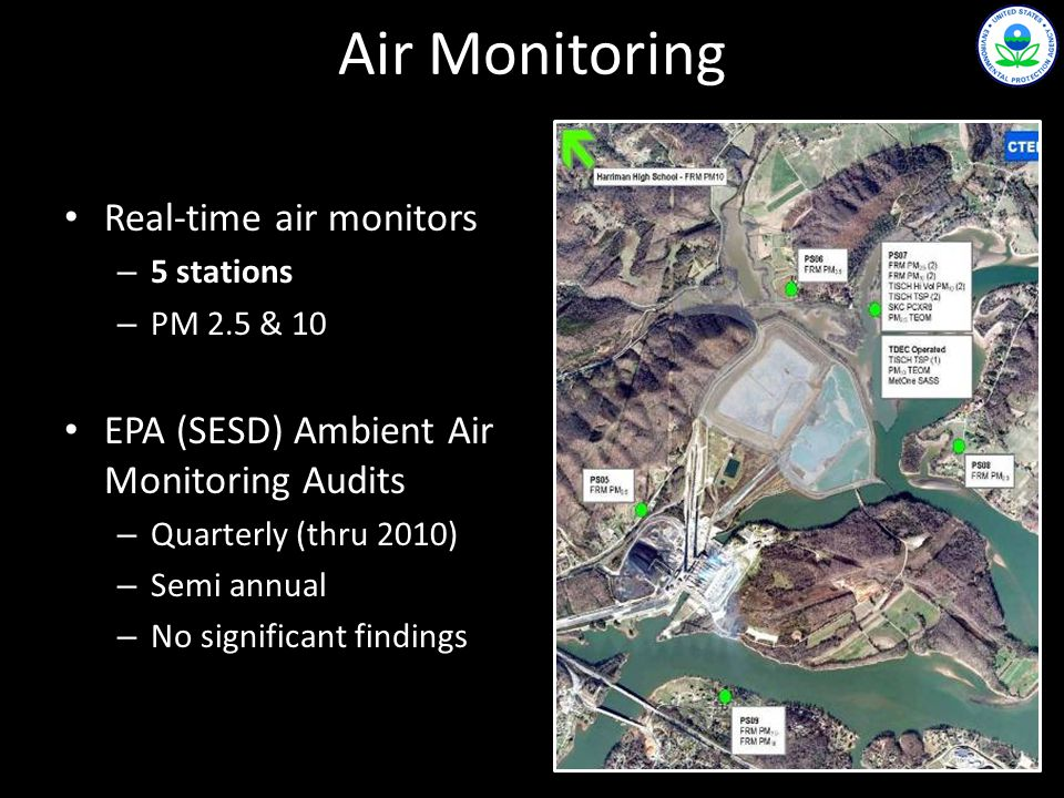 Real-time air monitors – 5 stations – PM 2.5 & 10 EPA (SESD) Ambient Air Monitoring Audits – Quarterly (thru 2010) – Semi annual – No significant findings Air Monitoring