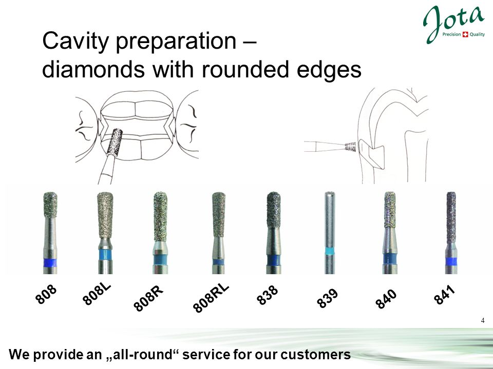 15 We provide an all-round service for our customers Cool, protective and fast: The JOTA Speed diamonds 830P Suitable for all preparations, to remove of composite and amalgam fillings and roughening of surfaces 837P 847P 850P855P869P 879P 880P