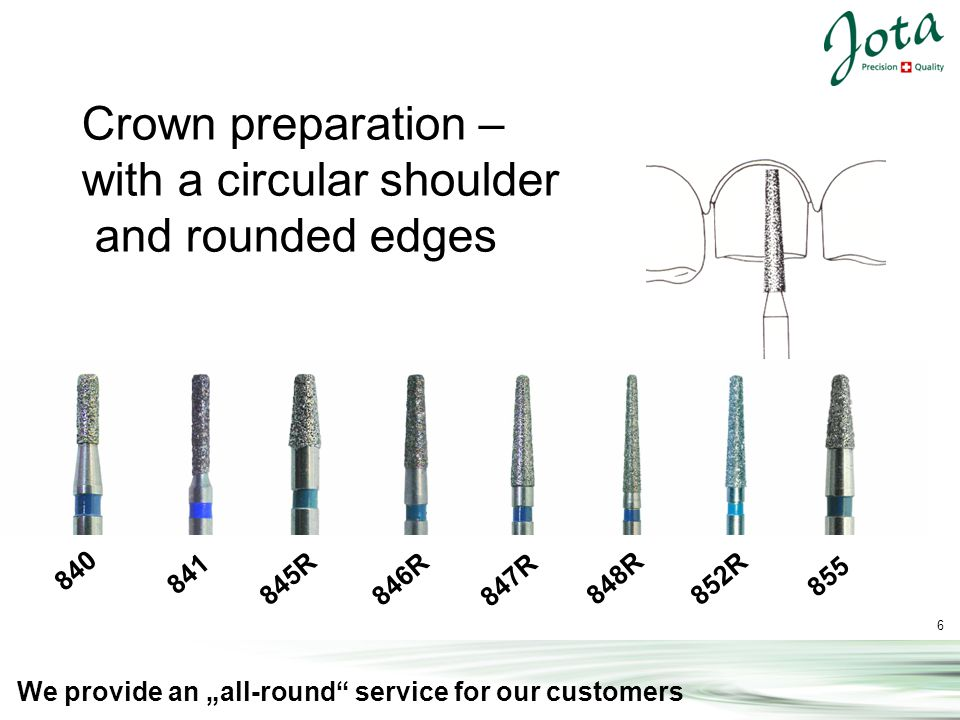 7 We provide an all-round service for our customers 838 849 850 852 880 881 882 883 Crown Preparation – with a chamfer of approx.