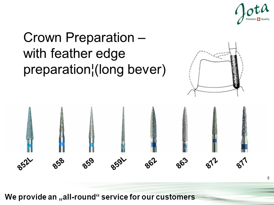 8 We provide an all-round service for our customers 852L 858 859 859L 862 863 872 877 Crown Preparation – with feather edge preparation¦(long bever)
