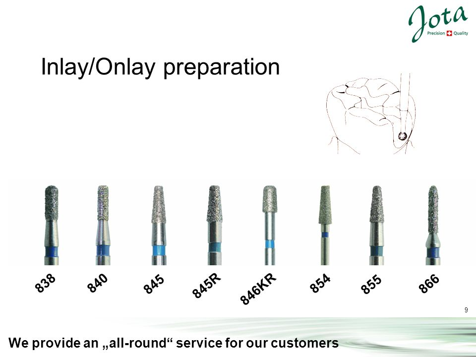 9 We provide an all-round service for our customers 838 840 845 845R 846KR 854 855 866 Inlay/Onlay preparation
