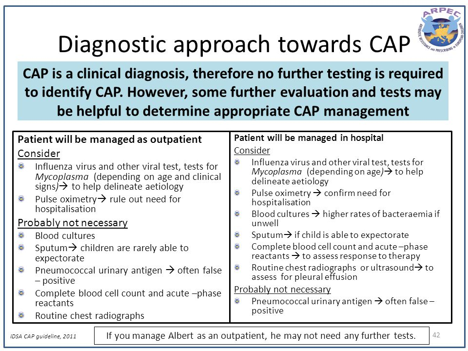Diagnostic approach towards CAP Patient will be managed as outpatient Consider Influenza virus and other viral test, tests for Mycoplasma (depending o