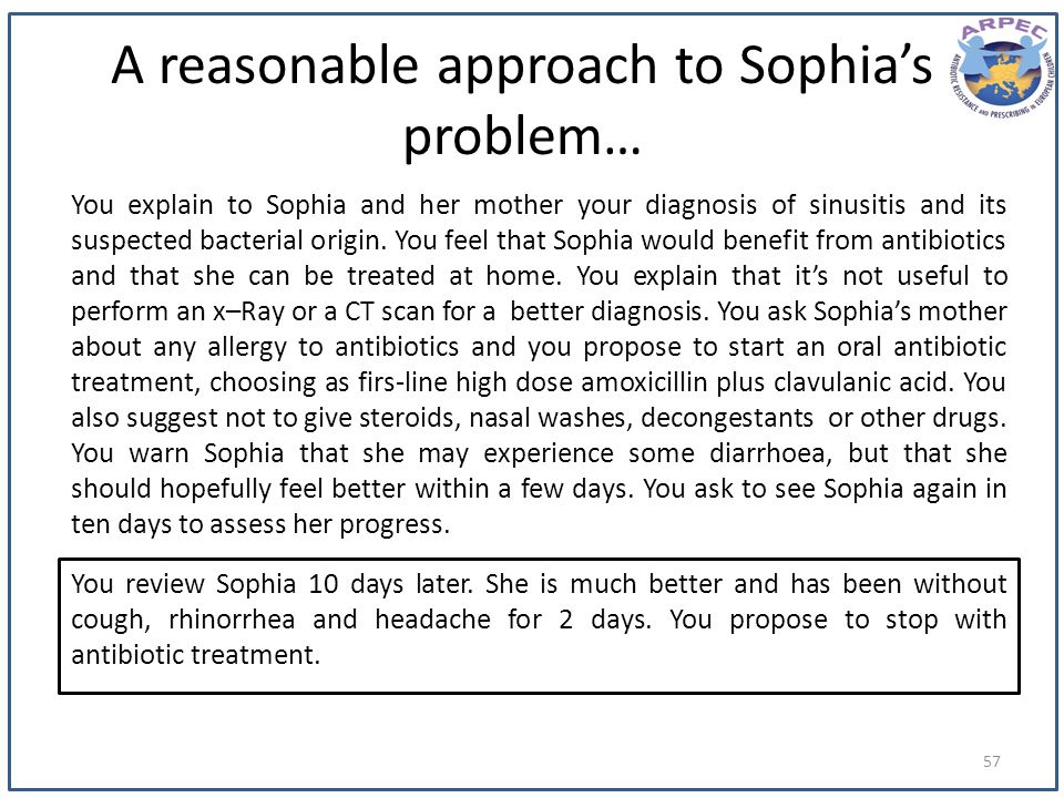A reasonable approach to Sophias problem… You explain to Sophia and her mother your diagnosis of sinusitis and its suspected bacterial origin. You fee