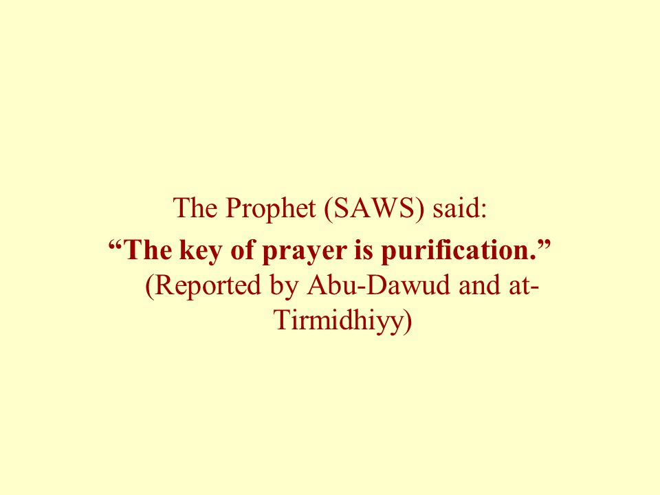 The Prophet (SAWS) said: The key of prayer is purification.