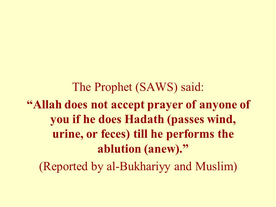 The Prophet (SAWS) said: Allah does not accept prayer of anyone of you if he does Hadath (passes wind, urine, or feces) till he performs the ablution (anew).