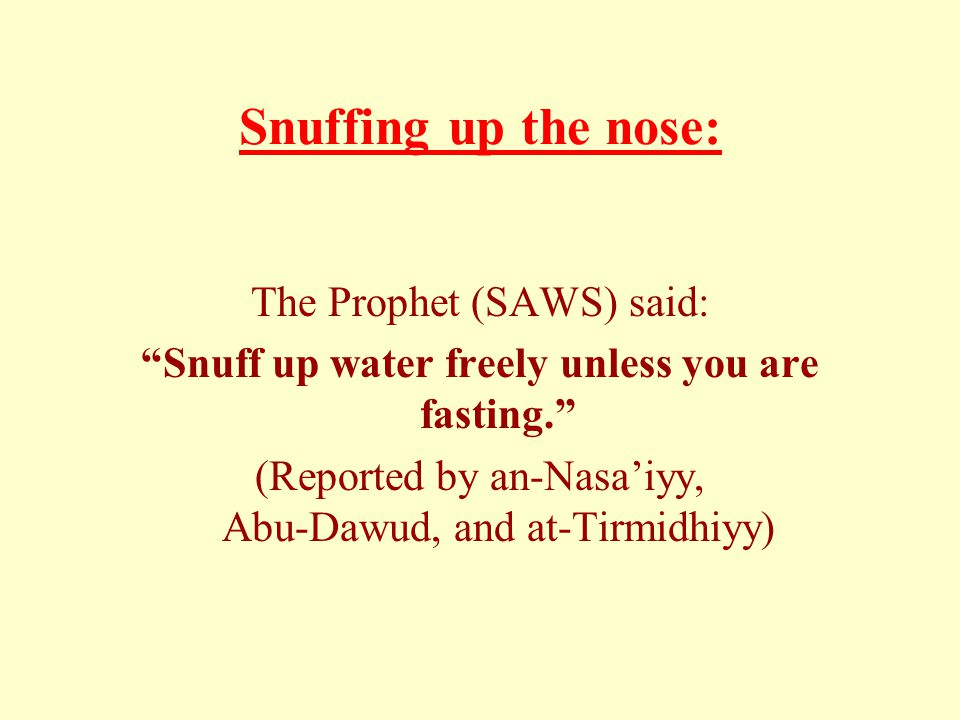 Snuffing up the nose: The Prophet (SAWS) said: Snuff up water freely unless you are fasting.