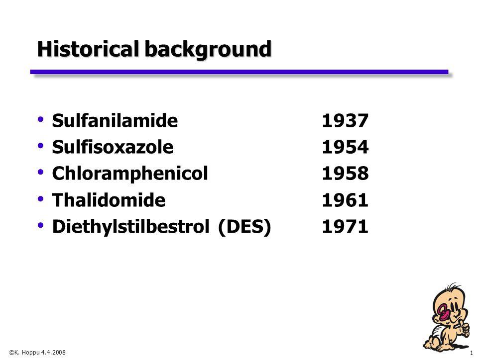 1 ©K. Hoppu 4.4.2008 Historical background Sulfanilamide 1937 Sulfisoxazole 1954 Chloramphenicol 1958 Thalidomide 1961 Diethylstilbestrol (DES)1971
