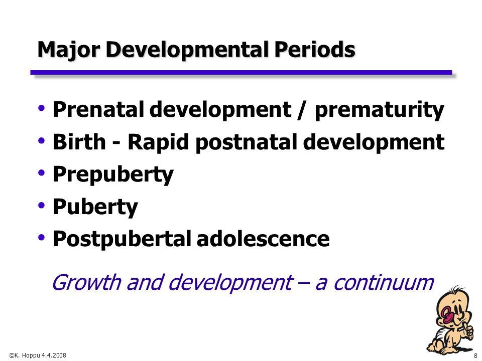 8 Major Developmental Periods Prenatal development / prematurity Birth - Rapid postnatal development Prepuberty Puberty Postpubertal adolescence Growt