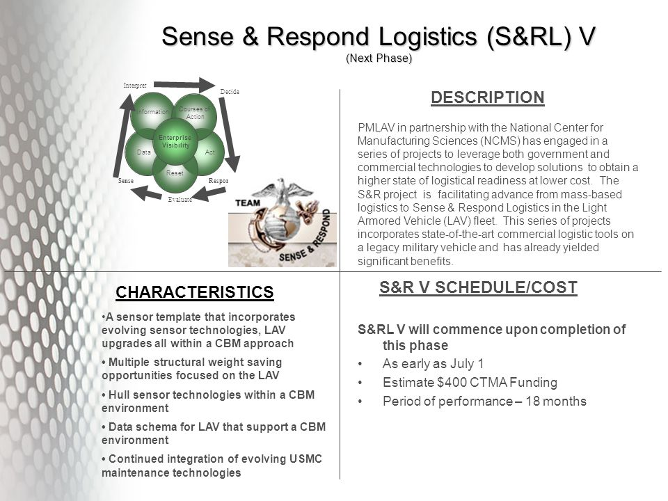 Sense & Respond Logistics (S&RL) V (Next Phase) DESCRIPTION CHARACTERISTICS S&R V SCHEDULE/COST S&RL V will commence upon completion of this phase As