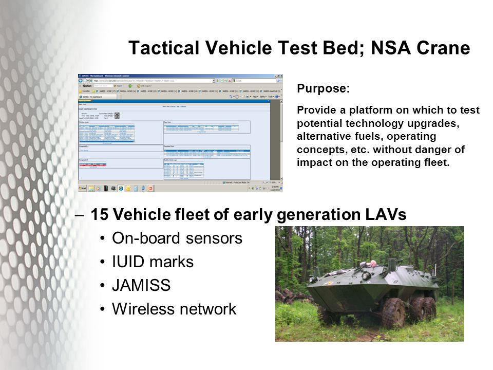 Tactical Vehicle Test Bed; NSA Crane –15 Vehicle fleet of early generation LAVs On-board sensors IUID marks JAMISS Wireless network Purpose: Provide a