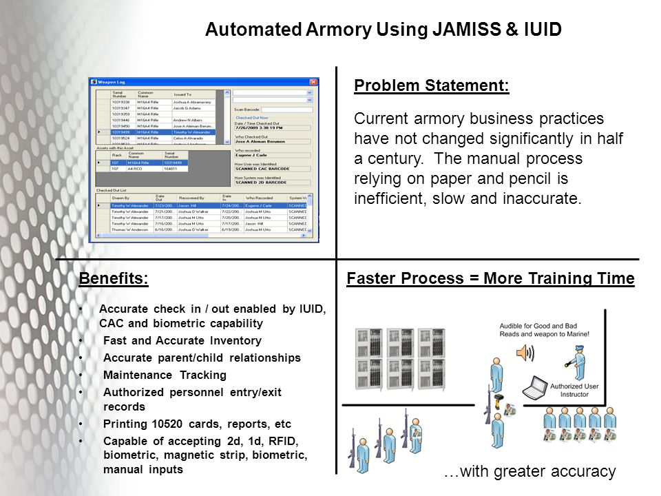 Automated Armory Using JAMISS & IUID Problem Statement: Current armory business practices have not changed significantly in half a century.