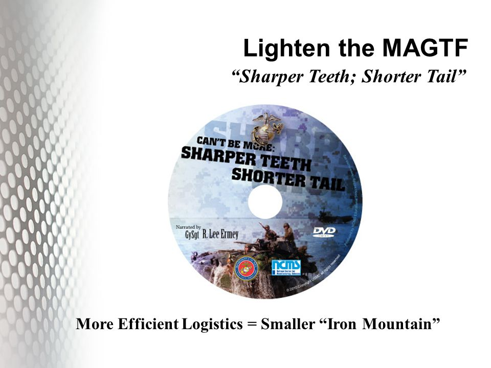 Lighten the MAGTF More Efficient Logistics = Smaller Iron Mountain Sharper Teeth; Shorter Tail