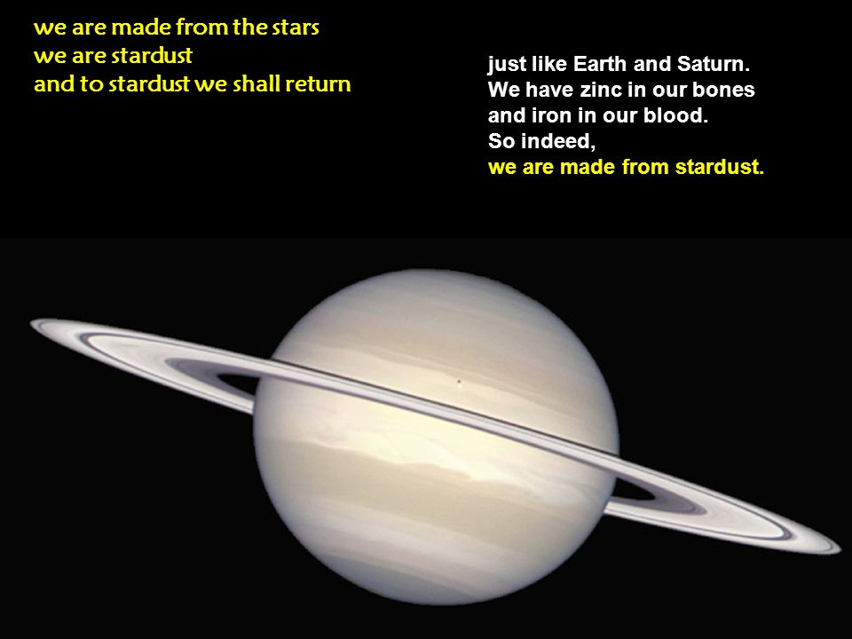 Eventually, through the eons, stardusts evolved into planets and solar systems just like ours.