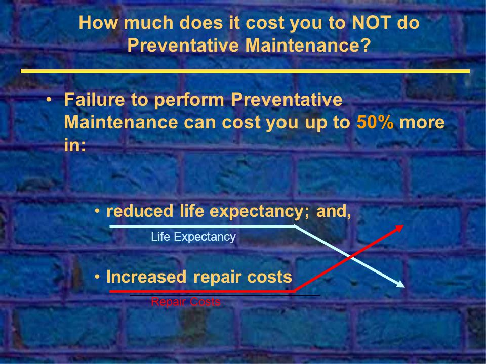 Increased repair costs Failure to perform Preventative Maintenance can cost you up to 50% more in: reduced life expectancy; and, How much does it cost you to NOT do Preventative Maintenance.