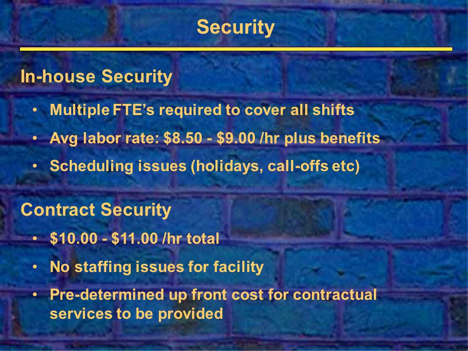 Security Multiple FTEs required to cover all shifts Avg labor rate: $ $9.00 /hr plus benefits Scheduling issues (holidays, call-offs etc) $ $11.00 /hr total No staffing issues for facility Pre-determined up front cost for contractual services to be provided In-house Security Contract Security
